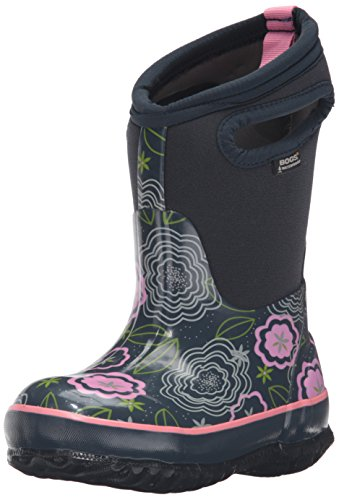Bogs Classic High Waterproof Insulated Rubber Neoprene Rain Boot Snow, Posey Print/Dark Blue/Multi, 3 M US Little Kid by Bogs (Image #1)