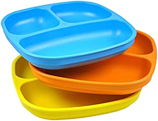 product image for Re-Play Made in USA 3pk Divided Plates with Deep Sides for Easy Baby, Toddler - Sky Blue,Orange & Yellow (Spring)