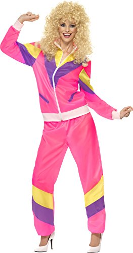 Smiffys Women's 80's Height of Fashion Shell Suit Costume, Jacket and pants, Back to the 80's, Serious Fun, Size 10-12, -