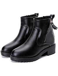 Women's Winter Warm Zip Martin Boots - Anti Slip Chunky Heel Fur Liners Basic Ankle Booties