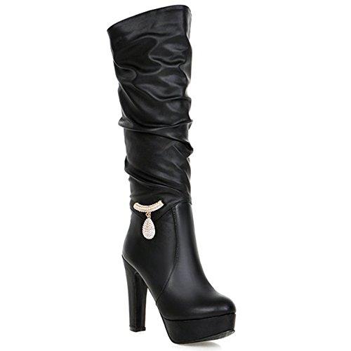 b2b358626a0 hot sale Women's Trendy PU Leather Rhinestone Winter Snow Heavy ...