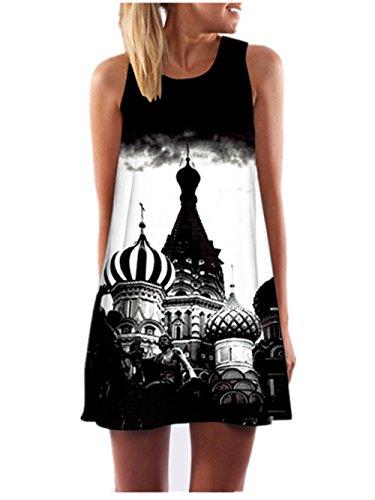 SRYSHKR Clearance 2017 Vintage Boho Women Summer Sleeveless Beach Printed Short Mini Dress (L, Black) (Fat Quarter Club)