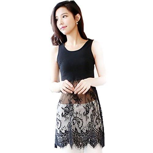 e8f028a488c7f Peak Women Girl Extender Camisole Long Tank Slip Top Trim Layer Vest Lace  Dress 60%OFF