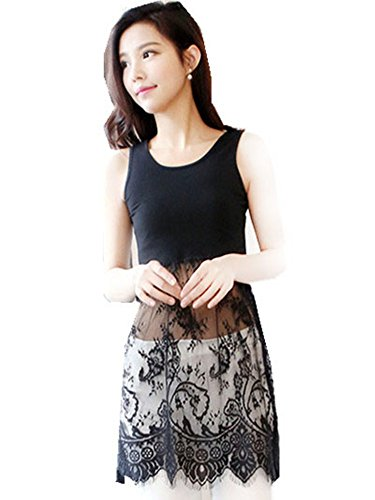 Peak Girl Extender Camisole Long Tank Slip Top Trim Layer Vest Lace Dress Black M