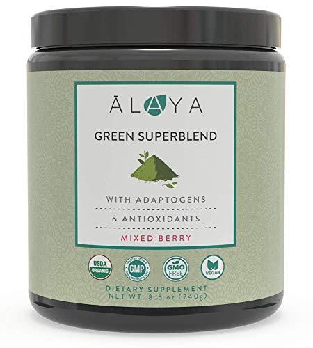 Alaya Organic Greens Powder - Superfood Powder with Adaptogens, Antioxidants & Probiotics - Certified Organic Non-GMO Super Greens Supplement Powder - 30 Servings - Berry Flavor Green Powder