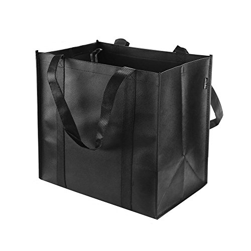 Reusable Grocery Tote Bags (6 Pack, Black) - Hold 44+ lbs - Large & Durable, Heavy Duty Shopping Totes - Grocery Bag with Reinforced Handles, Thick Plastic Support Bottom -