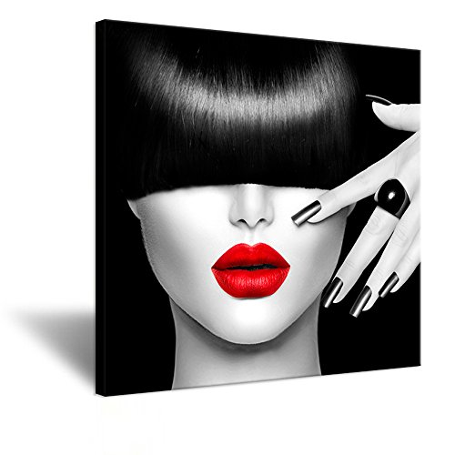 Hello Artwork - Fashion Poster Printed on Canvas Painting Beautiful Woman With Diamond Ring Picture Canvas Wall Art Prints Stretched and Framed For Home Modern Decoration As A Gift 24''x24''