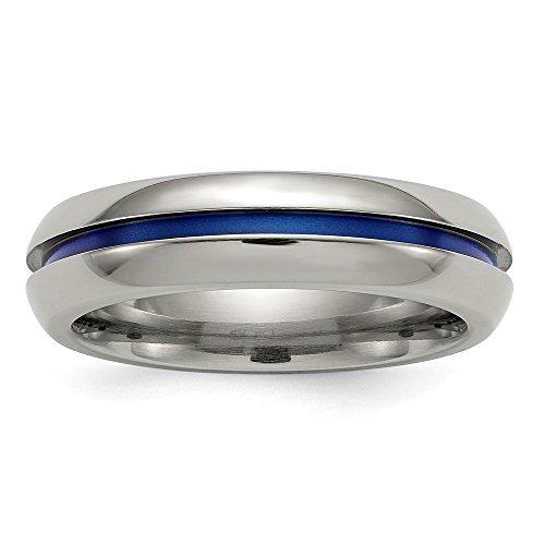 6mm Edward Mirell Blue Anodized Center Polished Titanium Wedding Band - Size 9 by Edward Mirell