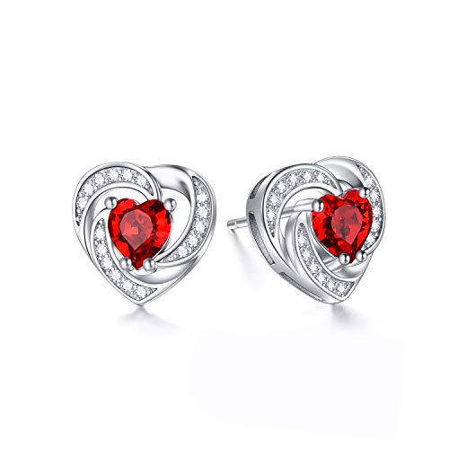 (Sterling Silver Ruby Birthstone Halo Heart Stud Earrings Ruby Heart Shaped Crystals from Swarovski, Fine Jewelry Gifts for Women Girls (Red/Ruby) )