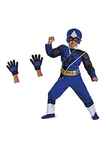 Blue Power Ranger Toddler Baby Boys Costume and Gloves Gift (Child Blue Ranger Gloves)
