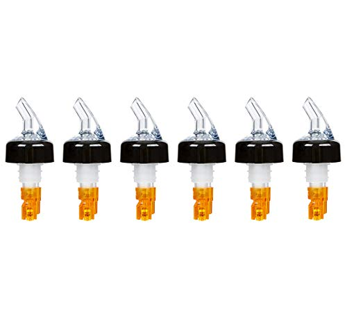 (Pack of 6) Measured Liquor Bottle Pourers, 0.5 oz, Clear Spout Bottle Pourer with Orange Tail and Black Collar, Measured Pour Spouts ()