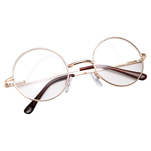 grinderPUNCH - Non-Prescription Round Circle Frame Clear Lens Glasses Small Gold