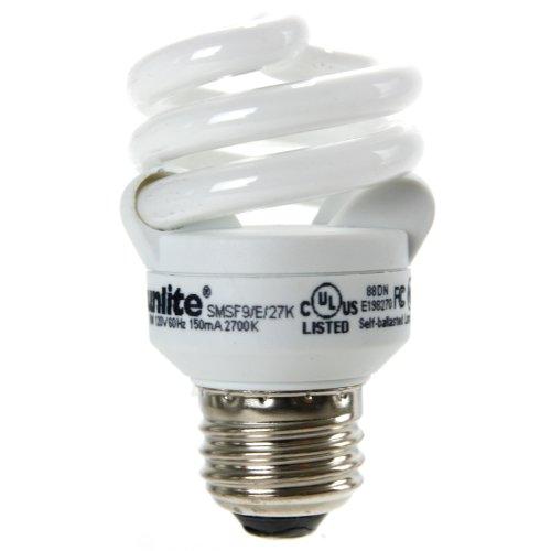 Sunlite SMS9F/E/27K 9 Watt Super Mini Spiral Energy Star Certified CFL Light Bulb Medium Base Warm White