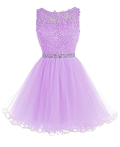 Custom Made Gowns - Girl's Lace Short Bridasmaid Dress Beaded Custom Made Gowns for Wedding Lavender,Size 2