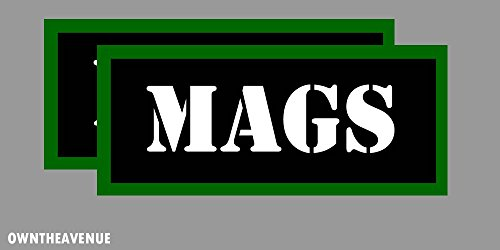 """MAGS Ammo Can Labels for Ammunition Case 3.5"""" x 1.50"""" stickers decals 2PACK"""