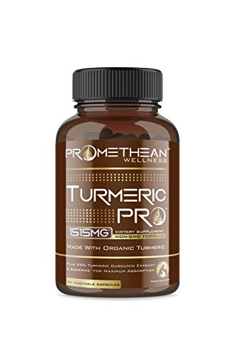 Turmeric PRO Super Strength 95% Curcuminoids Organic Turmeric Curcumin with BioPerine 90 Veggie Capsules Joint Pain Relief Anti-Inflammatory Antioxidant Anti-Aging Black Pepper Extract for Absorption