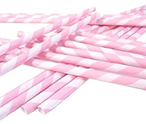 Bella Cupcake Couture Paper Straw, Soft Pink/White Stripes Pack of 24