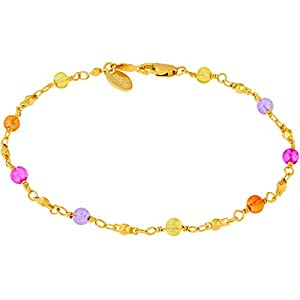 LIFETIME JEWELRY Colorful Balls Ankle Bracelets for Women 24k Real Gold Plated