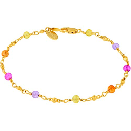 Lifetime Jewelry Ankle Bracelets for Women & Teen Girls [ Durable & Cute Colorful Balls Gold Anklet ] up to 20x More 24k Plating Than Other Foot Jewelry - Lifetime Replacement Guarantee (11.0) ()