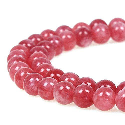 JARTC 8mm Rhodochrosite Gemstone Round Loose Beads for Jewelry ()