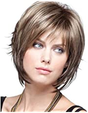 Fleurapance Wig Brown Wigs for Women Short Curly Wig Heat Resistant Synthetic Fiber Wiggs for Cosplay Halloween