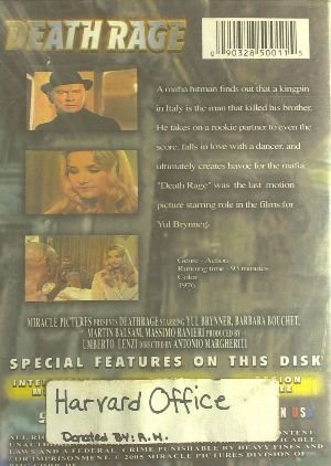 Death Rage - DVD - Yul Brynner, Barbara Bouchet, Martin Balsam - 1976 - Action Genre - 5.1 DTS - Collectible