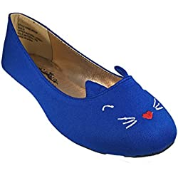 Charles Albert Womans Embroidery Kitty Cat Flats Shoes cobalt 6