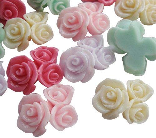 20pcs Resin Rose Flower Flatback Buttons DIY Scrapbooking Appliques
