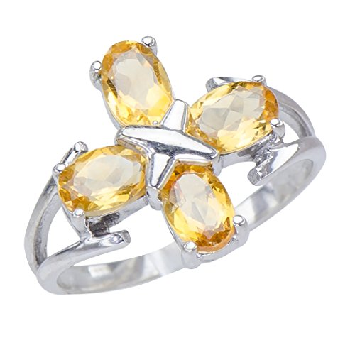Radiant Genuine Natural Golden Citrine Gemstones Sterling Silver Cross Jewelry Womens Ring
