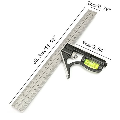 Walid@Precise Stainless Steel Measuring Tools Aluminium Combination Square Diy Workshop Hardware Angle Spirit Level 12