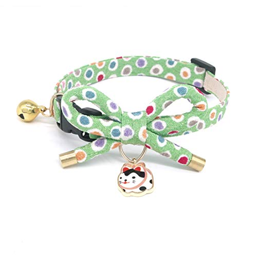 PetSoKoo Bowtie Cat Collar with Bell. Bowknot with Cute Cat Pendant. Safety Breakaway. (Medium (8-12 Inches,20cm-31cm), Green)]()