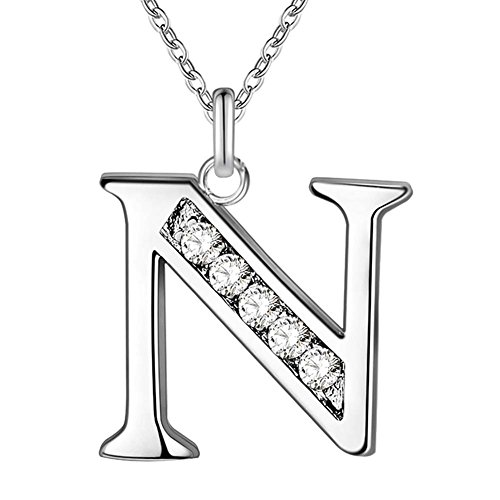 SWOPAN Initial 26 Letters Alphabet Personalized Monogram Name Charms Pendant Necklace for Women Silver Link Chain Jewelry with Cubic Zirconia - Letter N (Monogram Jewelry Necklace)
