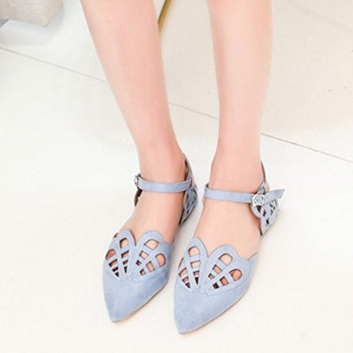 TAOFFEN Mujer Puntiagudo Verano Sandalias Plano Al Tobillo Cut-out Zapatos Azul