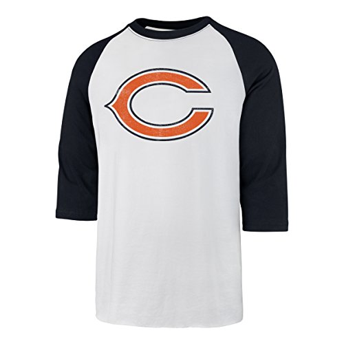 (NFL Chicago Bears Men's Ots Rival Raglan Distressed Tee, Small, White Wash)