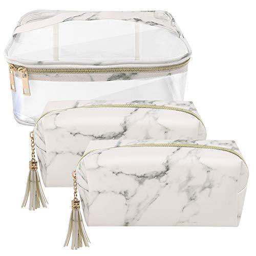 Marble Cosmetic Bag for Women 3PCS Set by NATURE Ann Lady Toiletry Bags Set Portable Storage Bag Waterproof Handbag Travel Organizer Makeup Case (Transparent+White-Marble)