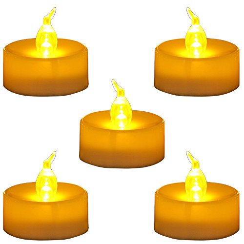 Homemory Pack of 24 Flameless LED Tea Light, Amber Yellow Flickering Bulb, Long Lasting Battery Operated Electric Votive Candle, Realistic and Bright Faux tealights Dia 1.4 by Homemory