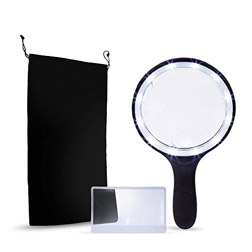 BEST Large (5.5 INCH) Magnifier Set with Magnifying Glass with 12 LED Lights, Credit Card Size Magnifier and Storage Bag- Best Handheld Portable Magnification 1.8x, 5x