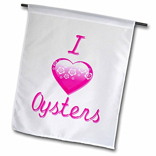 3dRose fl_121704_2″ Pretty Pink Flowery I Love Oysters Garden Flag, 18 x 27 For Sale