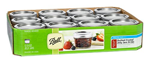 Ball Mason 4oz Quilted Jelly Jars with Lids and Bands, Set of 12 -