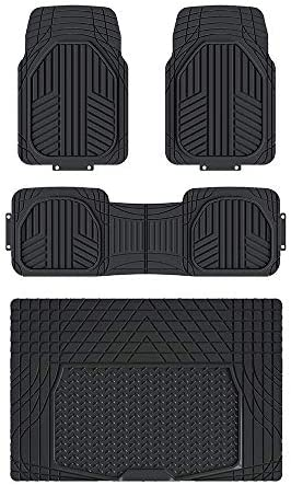Amazon Basics 4-Piece All-Season Odorless Heavy Duty Rubber Floor Mat Set with Cargo Liner for Cars, SUVs, and Trucks