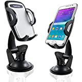 VadiDra Car Phone Holder, Universal Dashboard and Windshield Mount with Strong Suction Cup and Adjustable Arm