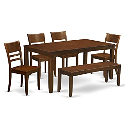 East West Furniture LYFD6-ESP-W 6-Piece Kitchen Table with Bench, Espresso Finish - This 6-piece dining set Includes rectangular dining table and 4 wood seat dining room chairs and one bench finished in Espresso Dining table comes with 12inch self storage extension leaf which can be stored right beneath table the top Top rated dining set which designed with all Asian Hardwood. Basically no MDF, veneer, laminate utilised in our goods. - kitchen-dining-room-furniture, kitchen-dining-room, dining-sets - 415Q  zR2zL. SS400  -
