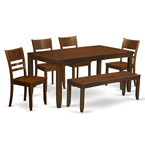 East West Furniture LYFD6-ESP-W 6-Piece Kitchen Table with Bench, Espresso Finish