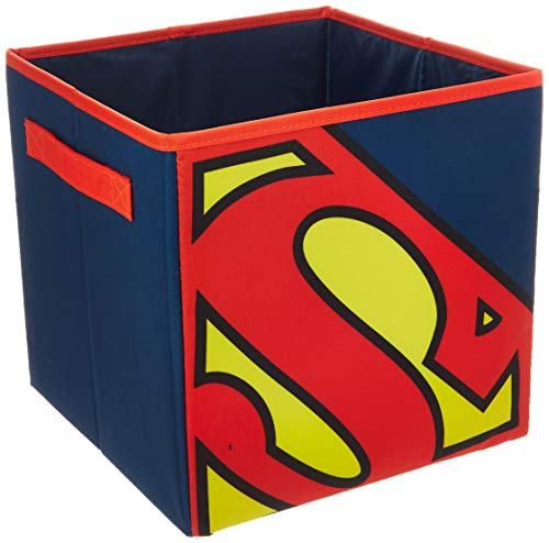 (Everything Mary Superman Collapsible Storage Bin by DC Comics-Cube Organizer for Closet, Kids Bedroom Box, Playroom Chest-Foldable Home Decor Basket Container with Strong Handles and Des, Blue/Red)