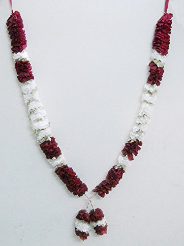 Maron & White Large Big Ribbon Artificial Hindu Deity Floral Garland Hindu God Mala India