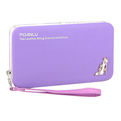 Women`s Clutch Wallet Flat Hard Case Wallet with A Strap 6 inch Phone Long Purse Leather Wallet Credit Card Holder Money Organizer Studded High-heeled Shoes (Purple)