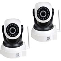 VideoSecu 2 Pack IP Wireless Baby Monitor Wi-Fi Pan Tilt Easy Setup Remote View Video Day Night Security Cameras Network IR Infrared for iPhone, iPad, Android Phone, PC and Smartphone AF3