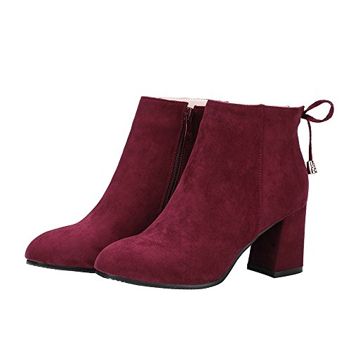 Ankle Boots Martin Heel Womens Winered Rough Suede ENMAYER Boots Toe Pointed Plus Size High Heels zqfpSg80cy
