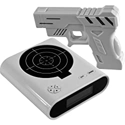 eSmart Digital Target Alarm Gun Clock - Infrared Gun & Recoil Sound Effects - Choose From Three Featured Game Modes - Challenge Your Aiming & Reaction Time (White)