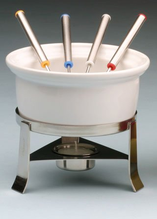Fun Fondue Set - Chantal 3-Cup Ceramic Fun Fondue Set, White